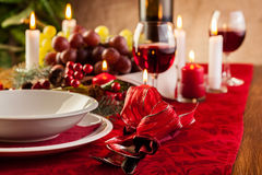 Christmas dishware on the table Royalty Free Stock Image