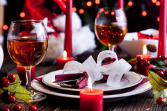 Christmas dishware on the table Royalty Free Stock Photos