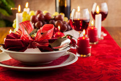 Christmas dishware on the table Royalty Free Stock Photo