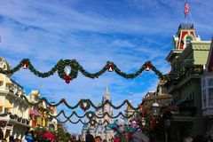 Christmas in Disney. Wreaths and Garland, Decorated in Walt Disney World for Christmas of 2013 Stock Images