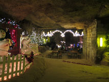 Christmas display in Dutch Cave. Christmas market in Town Cave, Valkenburg, Netherlands, Europe Stock Photo