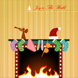 Christmas display. Christmas display on fireplace. Vector Illustration, EPS 10 Stock Photo