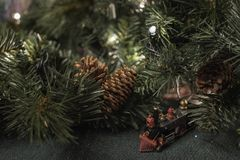 Christmas display with greenery and toy train Stock Photo
