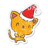 christmas distressed sticker cartoon of kawaii cat royalty free illustration