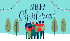 Christmas diverse friend group hug greeting card. Merry Christmas greeting card illustration of young people friend group hugging together at holiday winter vector illustration