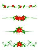 Christmas dividers poinsettia Royalty Free Stock Photos