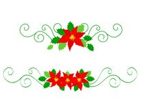 Christmas dividers poinsettia Royalty Free Stock Images