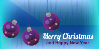 Christmas DL card. With three purple Christmas ornament and with greeting card Royalty Free Stock Images