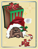 Christmas dog Abstract vector Christmas background. Illustrator 8 / EPS Stock Photo