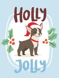 Christmas 2018 dog card vector cute cartoon puppy characters   Royalty Free Stock Image