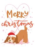 Christmas 2018 dog card vector cute cartoon puppy characters illustration home pets doggy Xmas print design web banner stock illustration