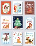 Christmas 2018 dog card vector cute cartoon puppy characters illustration home pets doggy Xmas print design web banner. Celebrate in Santa Red Hat Royalty Free Stock Photo