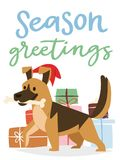 Christmas 2018 dog card vector cute cartoon puppy characters illustration home pets doggy Xmas print design web banner. Celebrate in Santa Red Hat Royalty Free Stock Photos