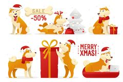 Christmas dog cartoon characters vector illustration. Yellow dogs in different poses vector flat design. New year set of. Dogs isolated on white background royalty free illustration