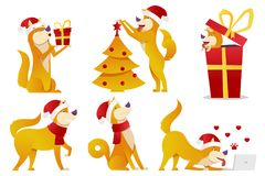 Christmas dog cartoon characters vector illustration. Yellow dogs in different poses vector flat design. New Year set of. Dogs with christmas tree and big red vector illustration