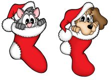 Christmas dog and cat. Color illustration Stock Photography