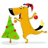 Christmas Dog Character. A Cheerful Pet Decorates Christmas Tree Royalty Free Stock Photo