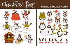 Christmas dog character constructor canine on winter holiday. Vector doggy wearing Santa Claus hat emotions and face expressions of pet in knitted warm sweater vector illustration