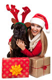 Christmas dog with presents Royalty Free Stock Photos