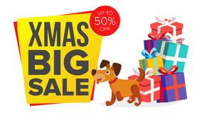Christmas Dog Cartoon Characters Bector. Happy Dog Flat Design. New Year Business Brochure Illustration. For Xmas Banner. Christmas Dog Sale Banner Template stock illustration