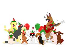 Christmas dogs group. Group of cute Christmas dogs Stock Photo