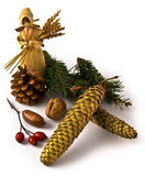 Christmas doll. Christmas cones and nuts and festive mood Stock Images
