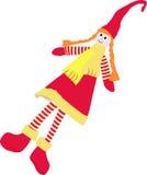 Christmas doll. Christmas tree toy. Ragdoll. Cartoon girl Royalty Free Stock Images