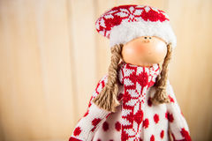 Christmas doll waiting for Santa royalty free stock photo