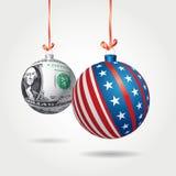 Christmas dollar balls Stock Photography