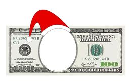 A Christmas 100 dollar bill no face, clipping path. One hundred dollars bill with no face in Christmas Santa hat isolated on white, clipping path included Royalty Free Stock Photography