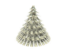Christmas dollars. Dollars notes maden as Christmass tree against white background Stock Photo