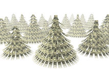 Christmas dollars. Dollars notes maden as Christmass tree against white background Stock Image