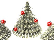 Christmas dollars. Dollars notes maden as Christmass tree against white background Stock Images
