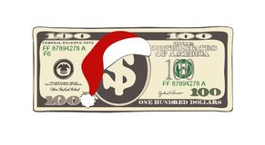 Christmas 100 dollars in flat cartoon style. Vector design of bill one hundred dollars. Suitable for discount cards, leaflet, coupon, flyer, vouchers and other Royalty Free Illustration