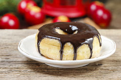 Christmas donut with chocolate Royalty Free Stock Image