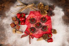 Christmas donuts with decoration stock images