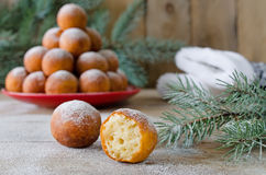 Christmas donuts with powdered sugar Stock Photo