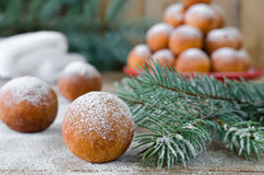 Christmas donuts with powdered sugar Royalty Free Stock Image