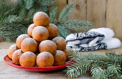 Christmas donuts with powdered sugar Royalty Free Stock Photos
