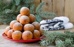 Christmas donuts with powdered sugar Royalty Free Stock Photos