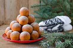 Christmas donuts with powdered sugar Royalty Free Stock Images