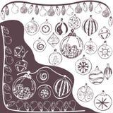 Christmas doodle bulbs Royalty Free Stock Photography