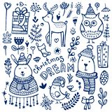 Collection of cute hand drawn Christmas elements. Christmas doodle collection. Hand drawing cute characters and design elements vector illustration