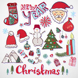 Christmas doodle collection. New year colorful Royalty Free Stock Images