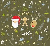 Christmas doodle design set Royalty Free Stock Photo