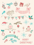 Christmas doodle desing elements Royalty Free Stock Photos