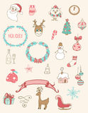 Christmas doodle desing elements Stock Images