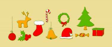 Christmas doodle elements Stock Images
