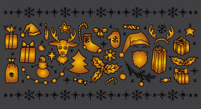 Christmas doodle elements Royalty Free Stock Photography