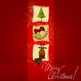 Christmas doodle greeting card design Stock Image
